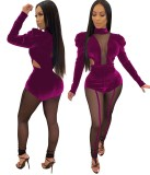 Herbst Party Samt Patchwork Bodysuit und Leggings Set