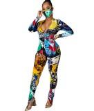 Bunter Overall mit Herbstparty-Print und passender Gesichtsbedeckung