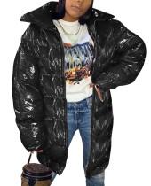 Abrigo largo de cuero acolchado con cremallera de invierno