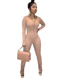 Herbst Sexy Tight Zip Up Slit Bottom Stacked Jumpsuit