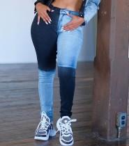 Зимние стильные контрастные джинсы стандартного формата