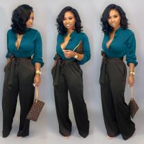 Autumn Elegant Plain Blouse and Contrast Trouser Set