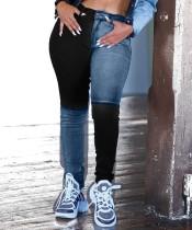 Jeans normali a contrasto alla moda invernale