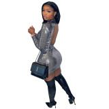 Herbst ausgeschnittene Pailletten Mini Club Kleid