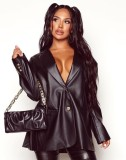 Winter Black Leather Button Up Lose Jacke