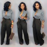 Herbst Elegant Plain Bluse und Kontrast Hose Set