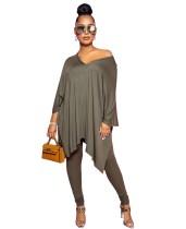 Conjunto de legging y camisa suelta con cuello en V liso informal de otoño