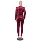 Autumn Casual Matching Velver Shirt und Hosen Set