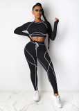Herbst Sport Fitness Crop Top und Legging Set