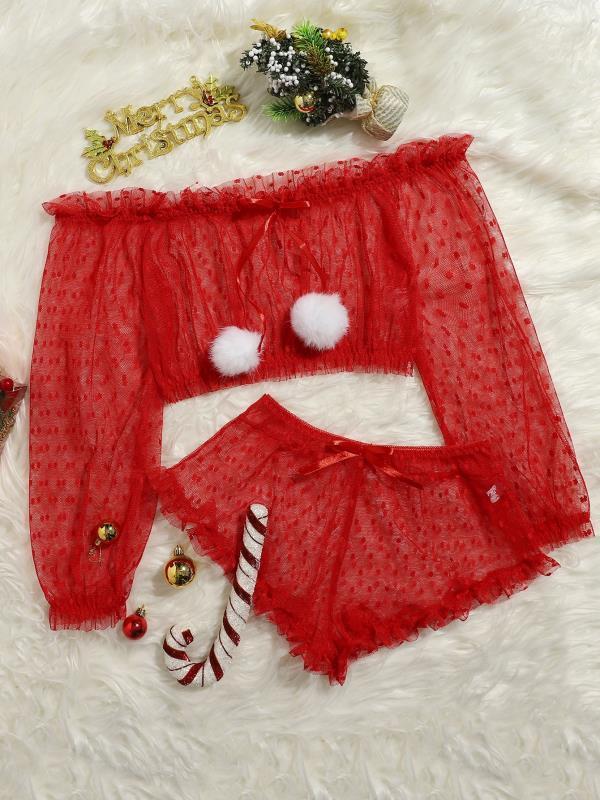 Sexy zweiteiliges Dessous-Set für Weihnachtsfrauen