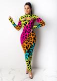 Herbst Party ausgeschnitten Leopard Midi Kleid