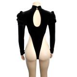 Herbst Party Samt Patchwork Bodysuit und Leggings Set