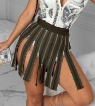 Jupe taille haute à glissières sexy de fête d'automne