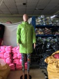 Winter gepolsterter langer Ledermantel mit Reißverschluss