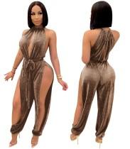 Summer Party Dancer Scoop Neck Metallic Slit Jumpsuit