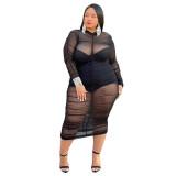 Plus Size Langarm Schwarz Durchsichtig Mesh Club Kleid