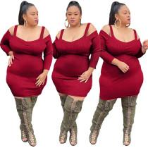 Büyük Beden Sonbahar Kırmızı Örgü Askılı Bodycon Elbise
