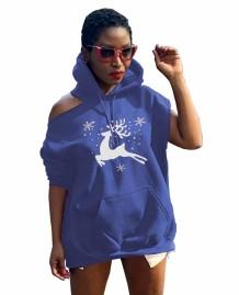 Vestido com capuz recortado com estampa de Natal de inverno