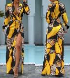 Herbst gelegentliches geometrisches langes Kleid mit Leopardenmuster