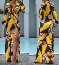 Vestido largo geométrico con estampado de leopardo ocasional de otoño