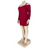 Plus Size Autumn Red Strickgurt Bodycon Kleid