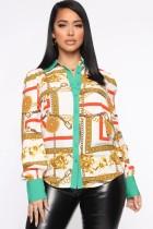Blusa elegante con estampado retro de otoño