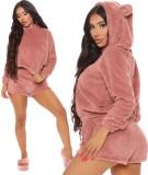 Winter Solid Plain Plüsch Hoody und Shorts Pyjama Set