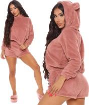 Ensemble pyjama à capuche et short en peluche uni uni d'hiver