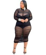 Büyük Beden Uzun Kollu Siyah See Through Mesh Club Elbise
