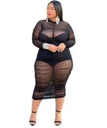 Черное прозрачное сетчатое клубное платье больших размеров с длинными рукавами