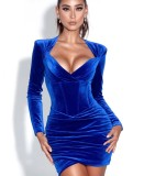 Herbst Party Blue Velvet Vintage Minikleid
