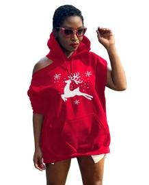 Winter kerst print uitgesneden hoody jurk