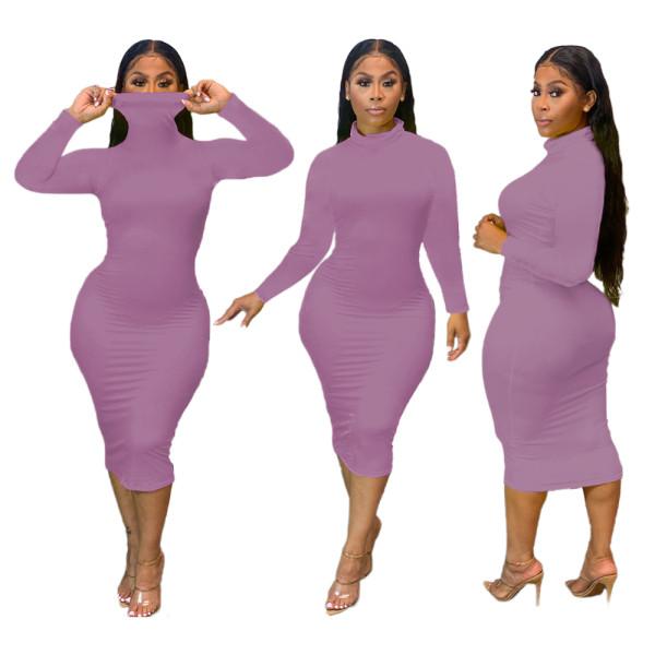 Party Sexy Plain Curvy Kleid mit vollen Ärmeln