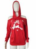 Winter Weihnachten Print Cut Out Hoody Kleid