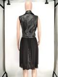 Herbstliche schwarze Leder Mesh Patchwork ärmellose Jacke