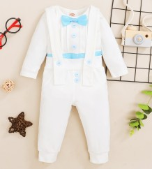 Baby Boy Autumn White Gentle Shirt and Suspender Pants Set