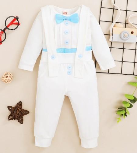 Erkek Bebek Sonbahar Beyaz Nazik Gömlek ve Askı Pantolon Takım
