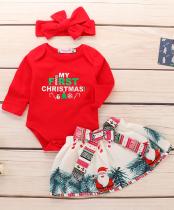 Conjunto de saia de três peças de Natal para bebê menina