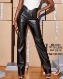 Formelle Hose aus Winterleder mit hoher Taille