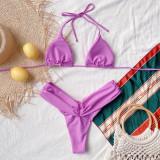 Zweiteilige lila geraffte Neckholder-Badebekleidung