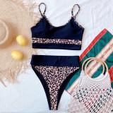 Zweiteilige Badebekleidung mit Leopardenmuster und hoher Taille