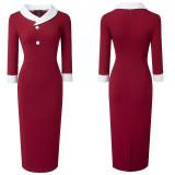 Herbst Solid Plain Vintage O-Neck Kragen Büro Midi Kleid