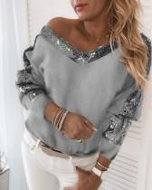 Camisa de felpa con cuello en V de lentejuelas de otoño