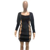 Autumn Party schwarz ausgeschnittenes figurbetontes Kleid