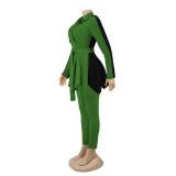 Conjunto de chaqueta con peplum elegante de invierno y pantalón a juego