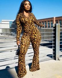 Tuta svasata con stampa leopardata sexy Autumn Party