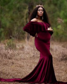 Herbst Pregenant Fotografie Off Shoulder Mermaid Velvet Gown