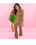 Herbst Party Sexy Leopardenmuster Flare Jumpsuit