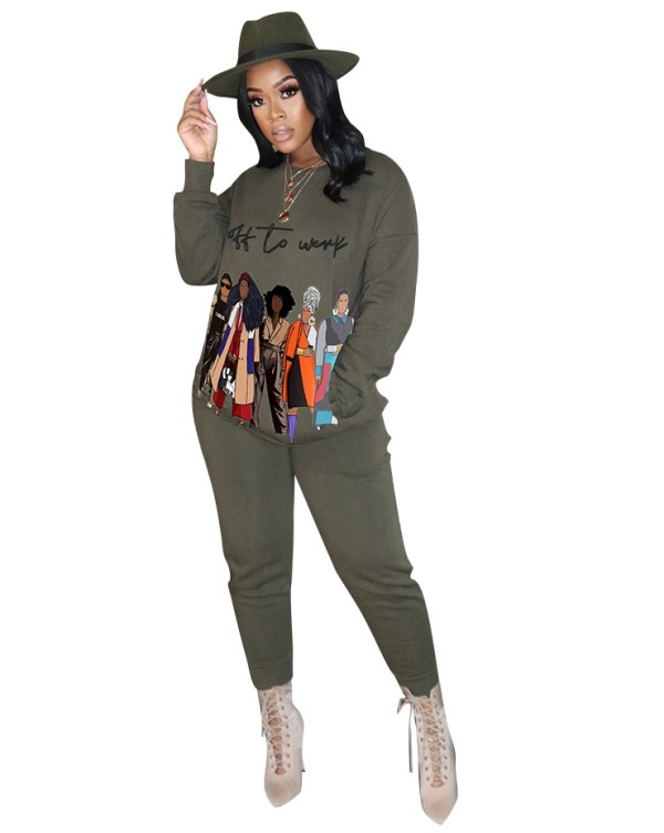 Winter Print O-Neck Casual Sweatsuit