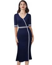 Herbst Solid Plain Vintage V-Ausschnitt Fishtail Office Midi-Kleid